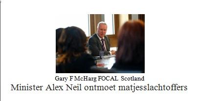 Minister Neil ontmoet matjesslachtoffers