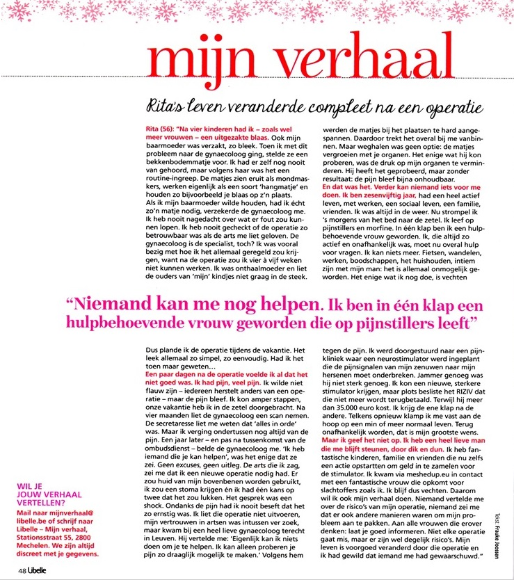 Het verhaal van Rita in de Libelle (België)