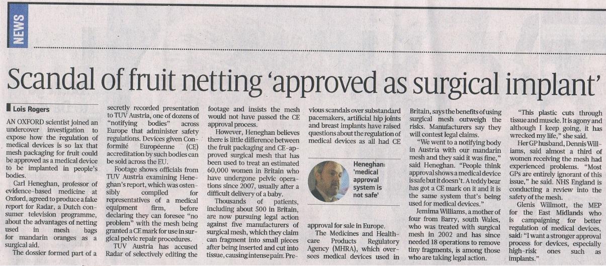 Mandarijnennetje in Sunday Times