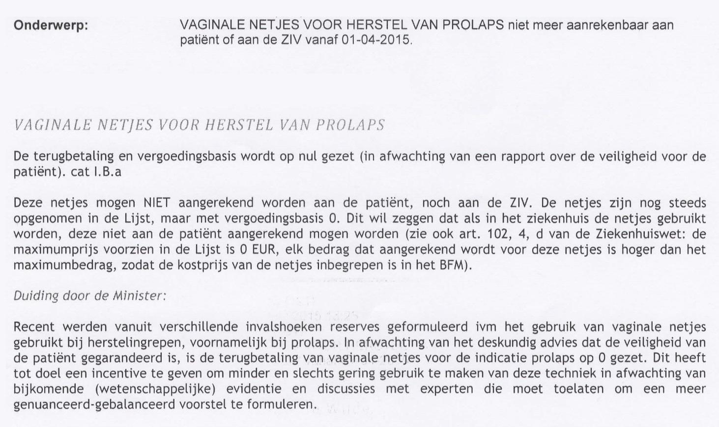 Vaginale netjes in België niet meer vergoed